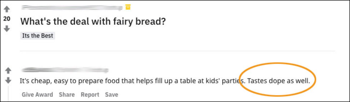 reddit comment about fairy bread that says it's dope