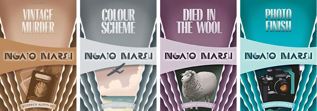 the book covers of ngaio marsh's novels set in new zealand