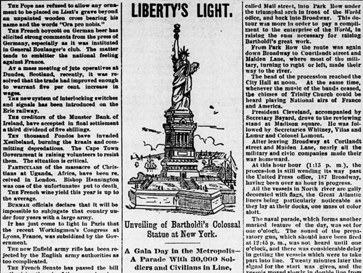 clipping of newspaper article about the dedication of the statue of liberty