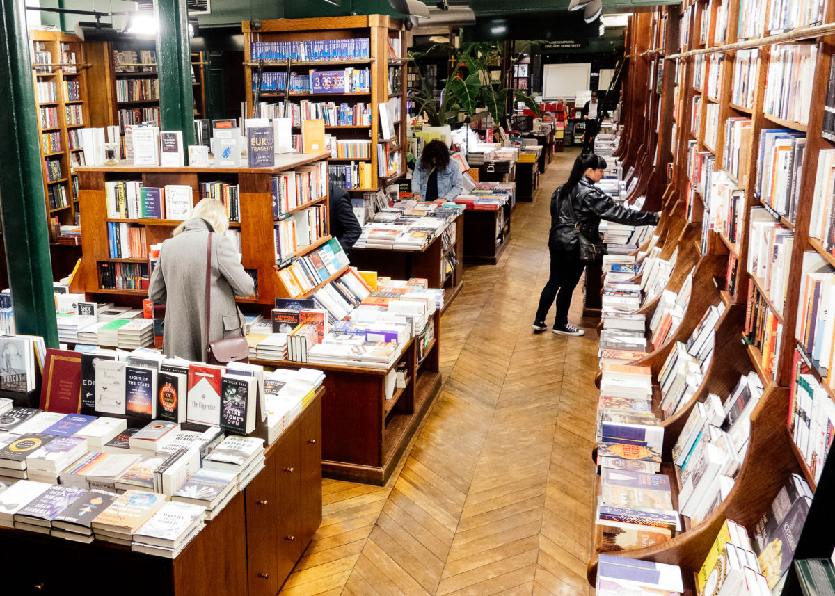 overhead shot of the bookstore shelves
