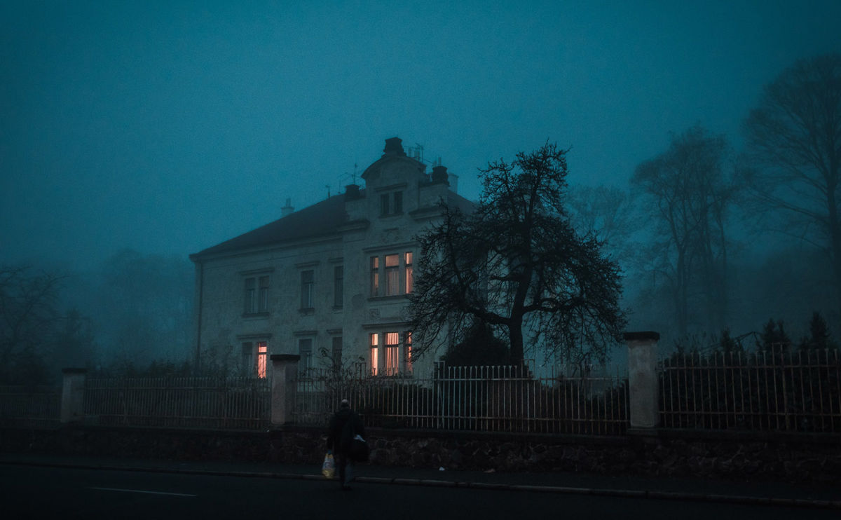 spooky house in the fog