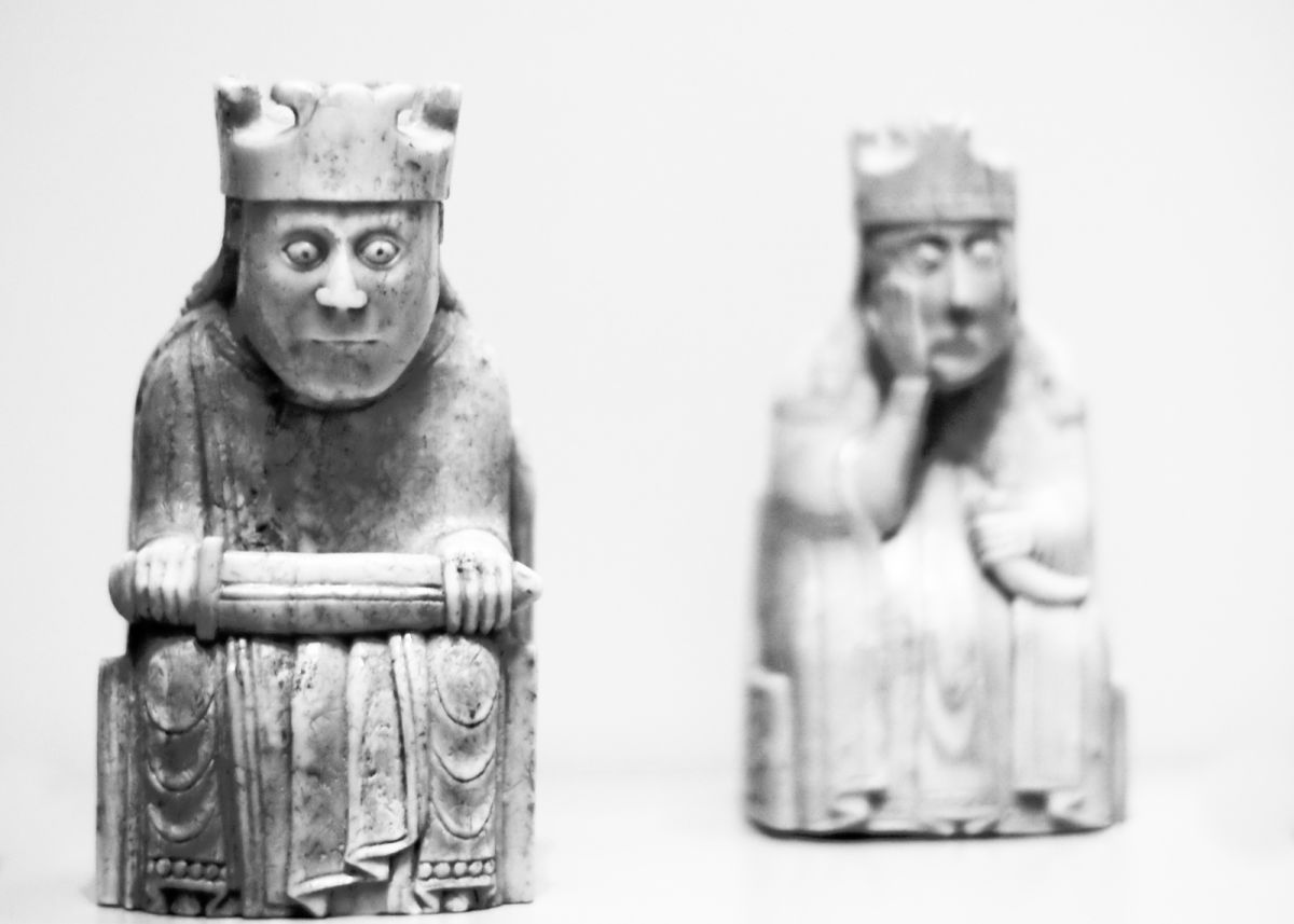 black and white image of the Lewis Chessmen