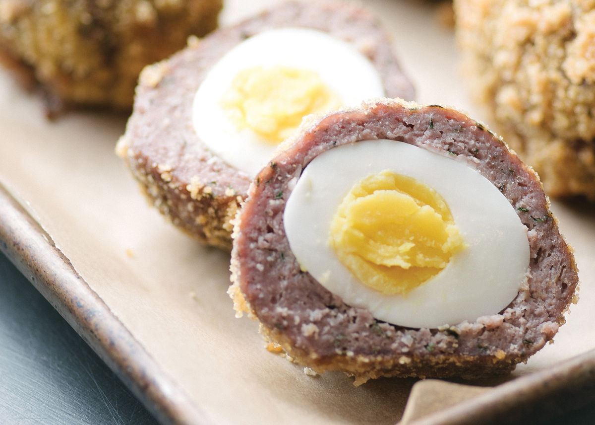 tray of scotch eggs