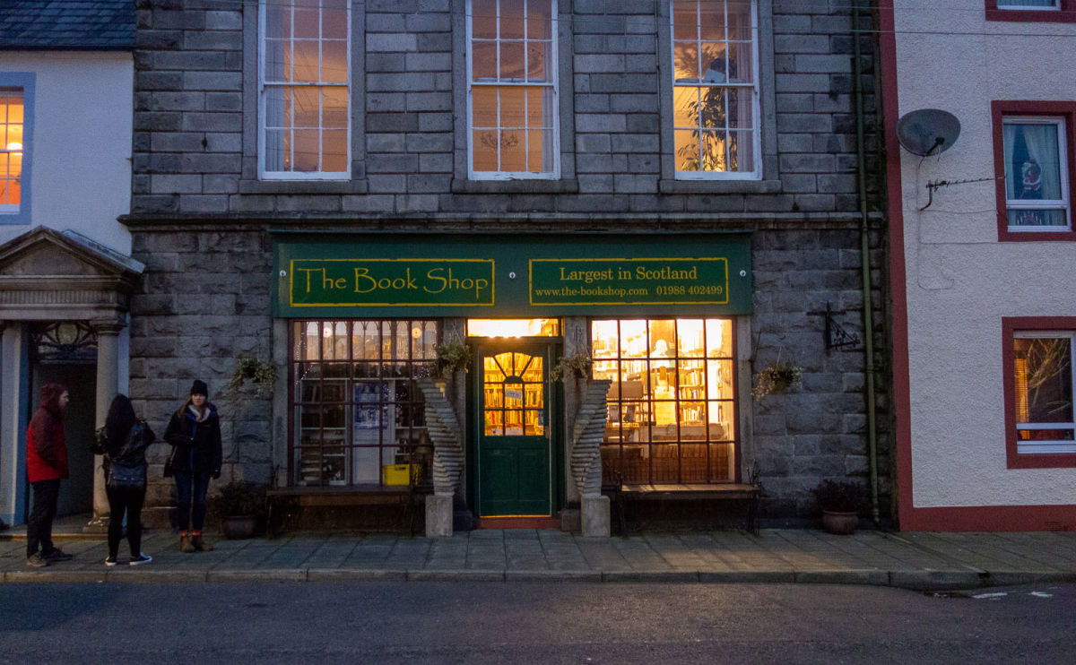the front of the bookshop at night