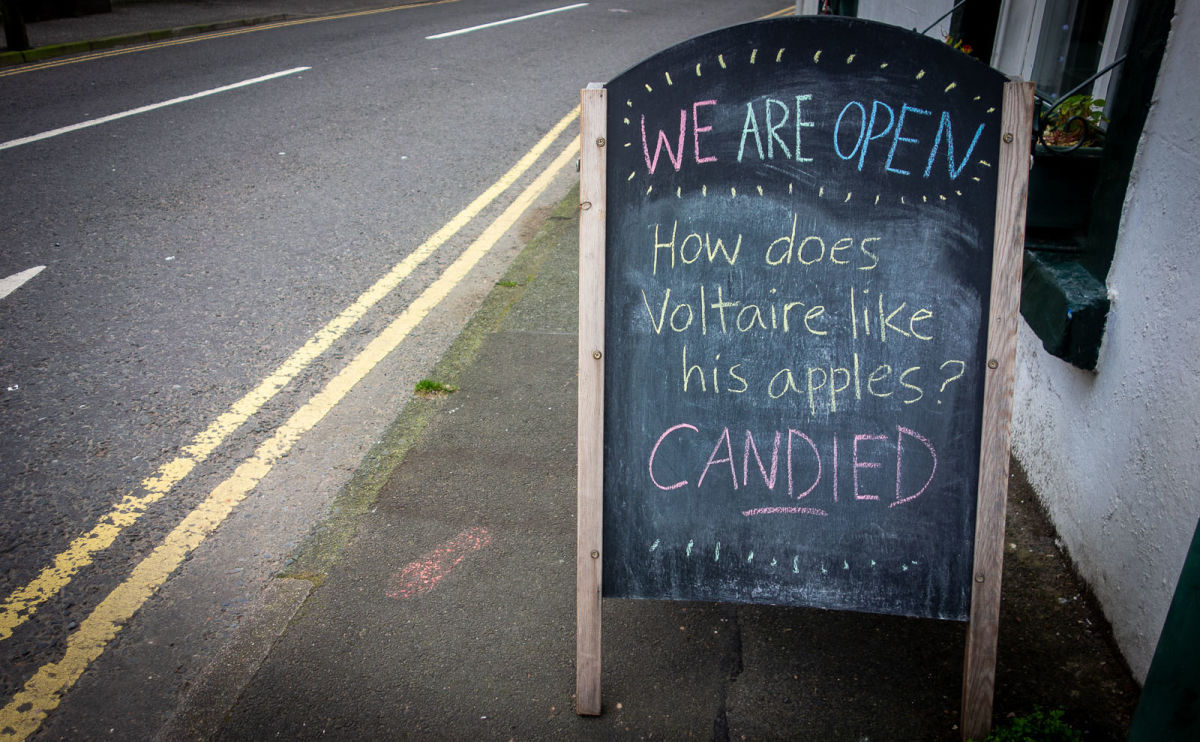 a sign outside the bookshop