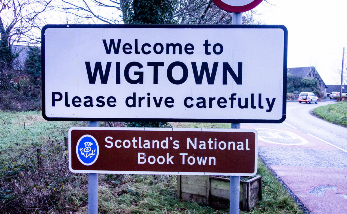 welcome sign at the border of Wigtown