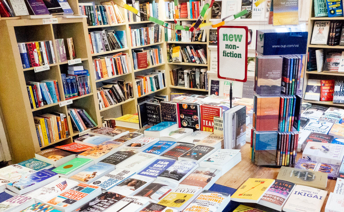 a book display in the english bookshop in stockholm, sweden