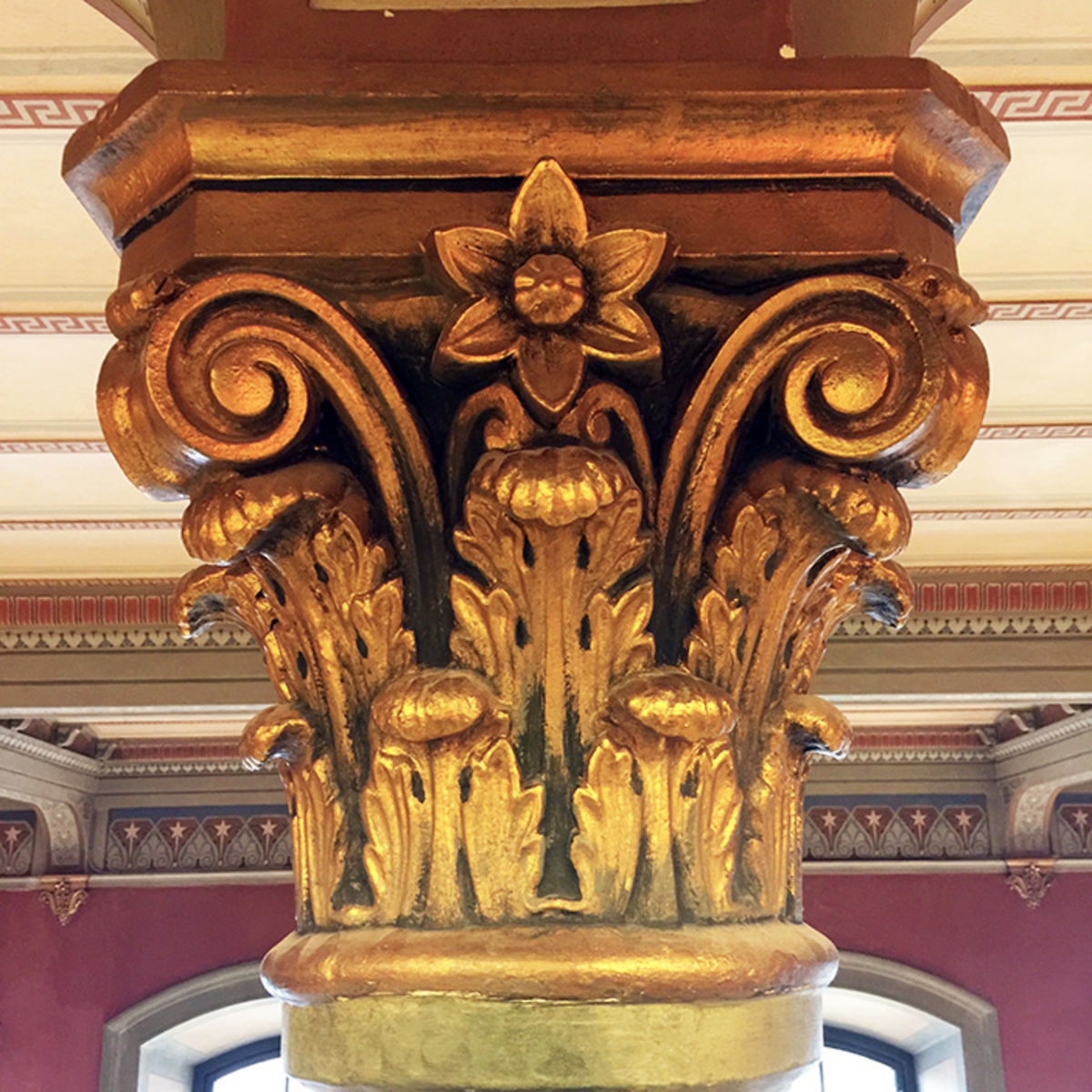 detail of a gilded pillar in the national library of sweden