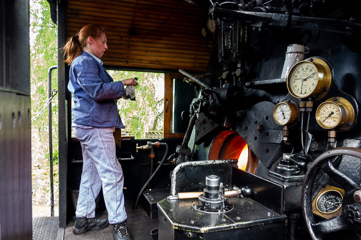 inside the steam engine of the keighley train