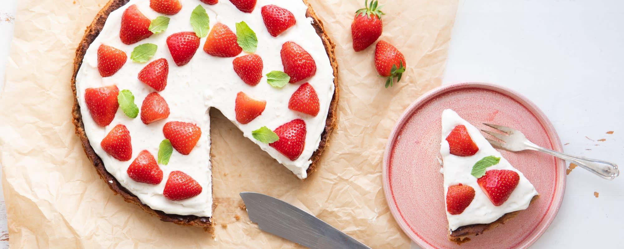 Vegansk, sund(ere) jordbærtærte