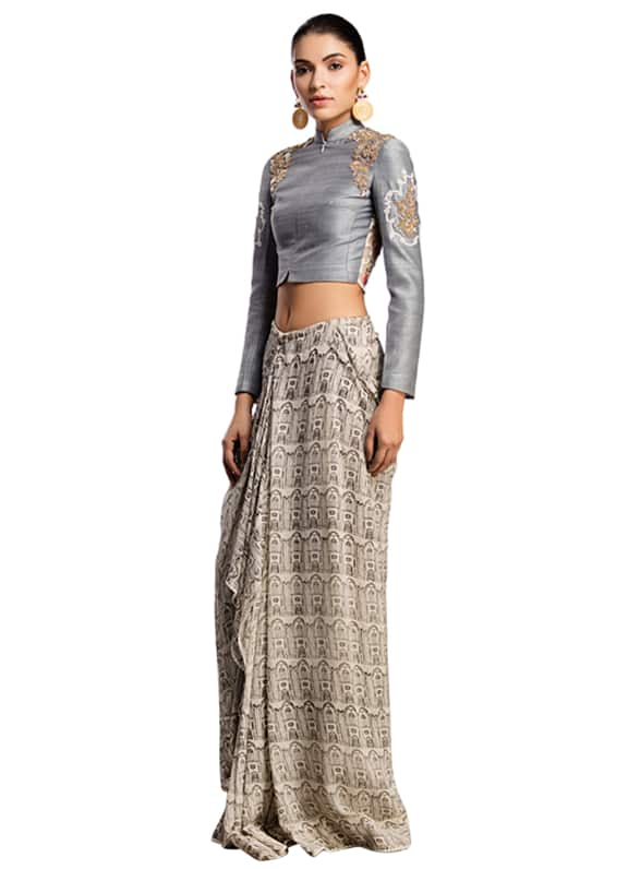40a56dcb83 Look #96 Printed Chiffon Dhoti Skirt With A Jacket Crop Top