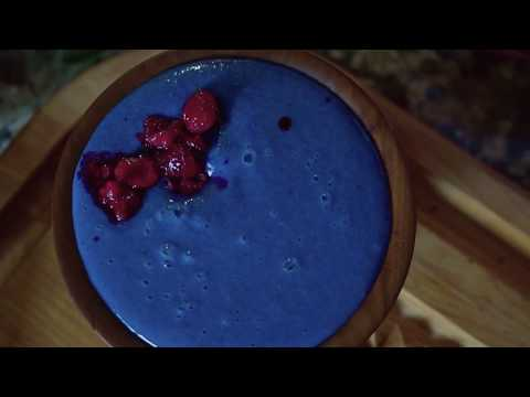 Spirulina Smoothie Bowl (Smurf Pudding) - Cooking B-Roll & Transitions