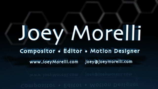Joey Morelli: Showreel (Compositor / Editor / Motion Graphics Designer)