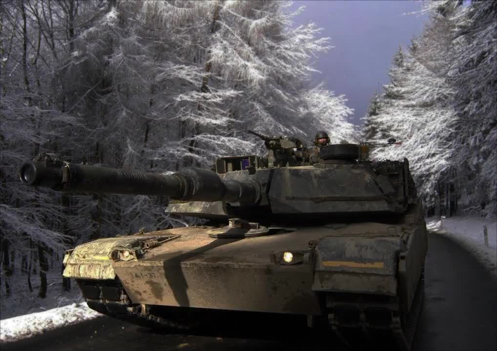 M1A1 during snowfall.    Enhancing still images for Documentary films.