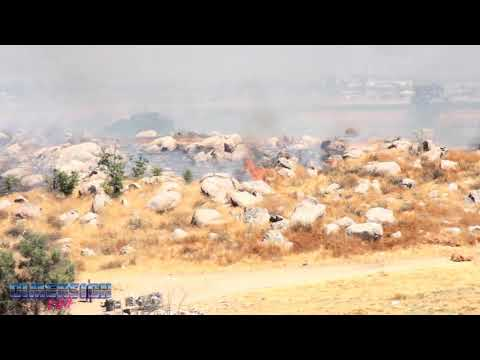 Perris Wildfire Chases Out Homeless Encampment  7-13-2017 (Stabilized)