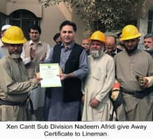 XEN Cantt Division, Mr. Nadeem Afridi giving away certificates to Lineman for best performance