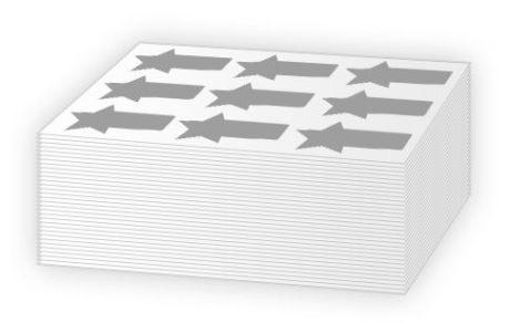 Adesivi con mezzo taglio forniti in moduli
