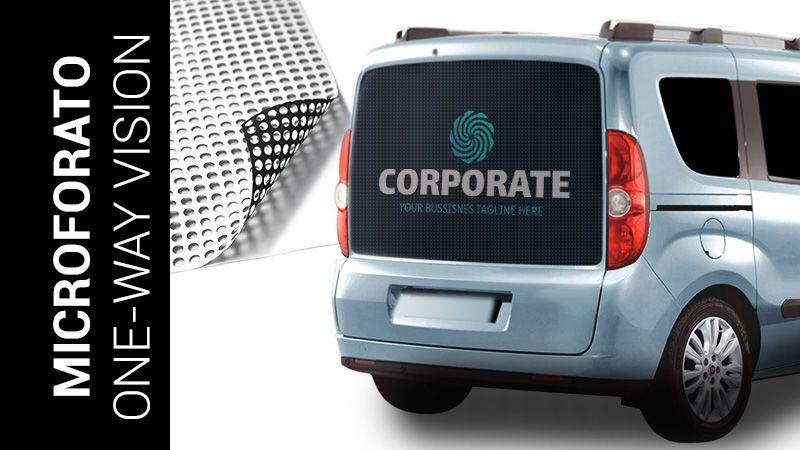 adesivo microforato per lunotti e finestrini automezzi