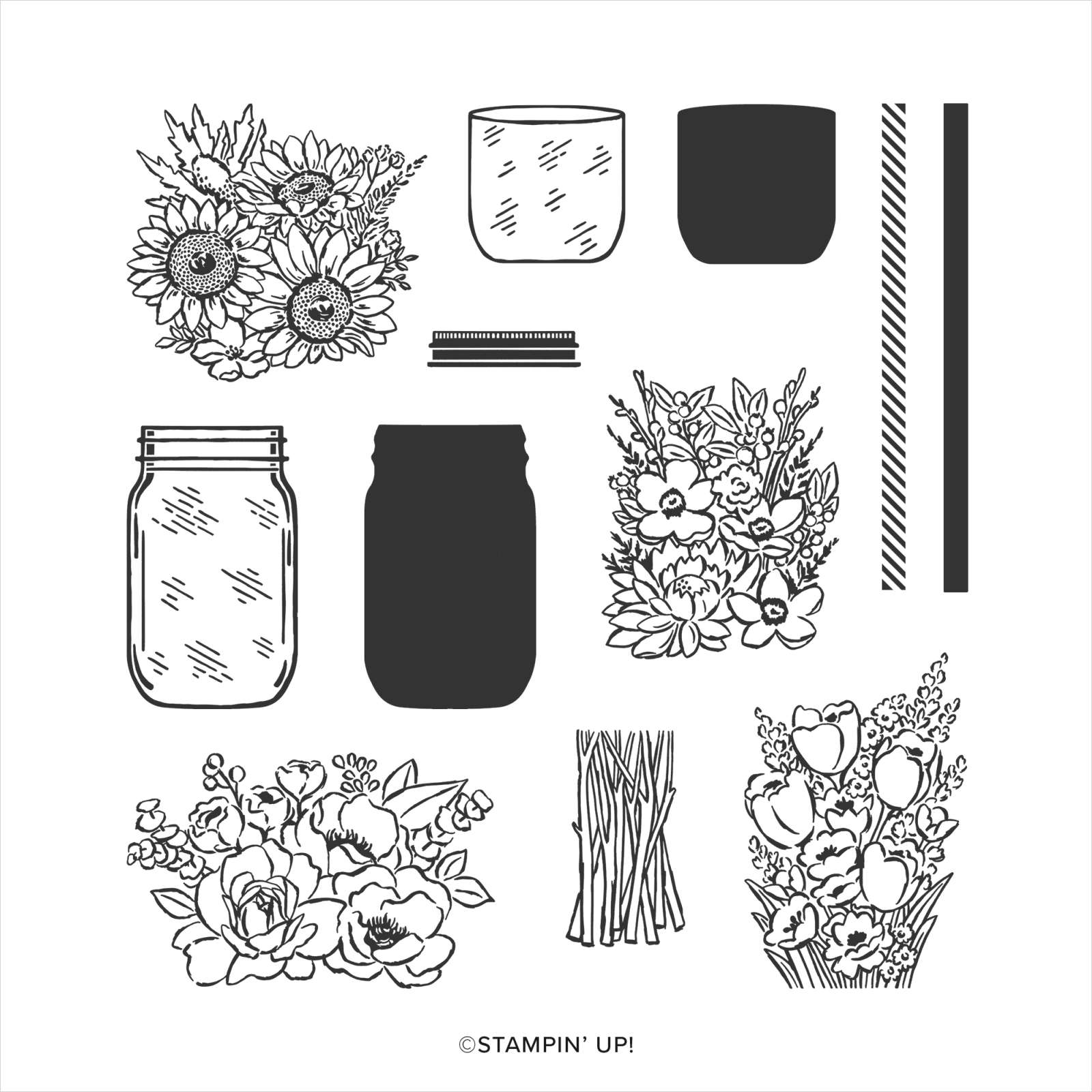 JAR OF FLOWERS PHOTOPOLYMER STAMP SET