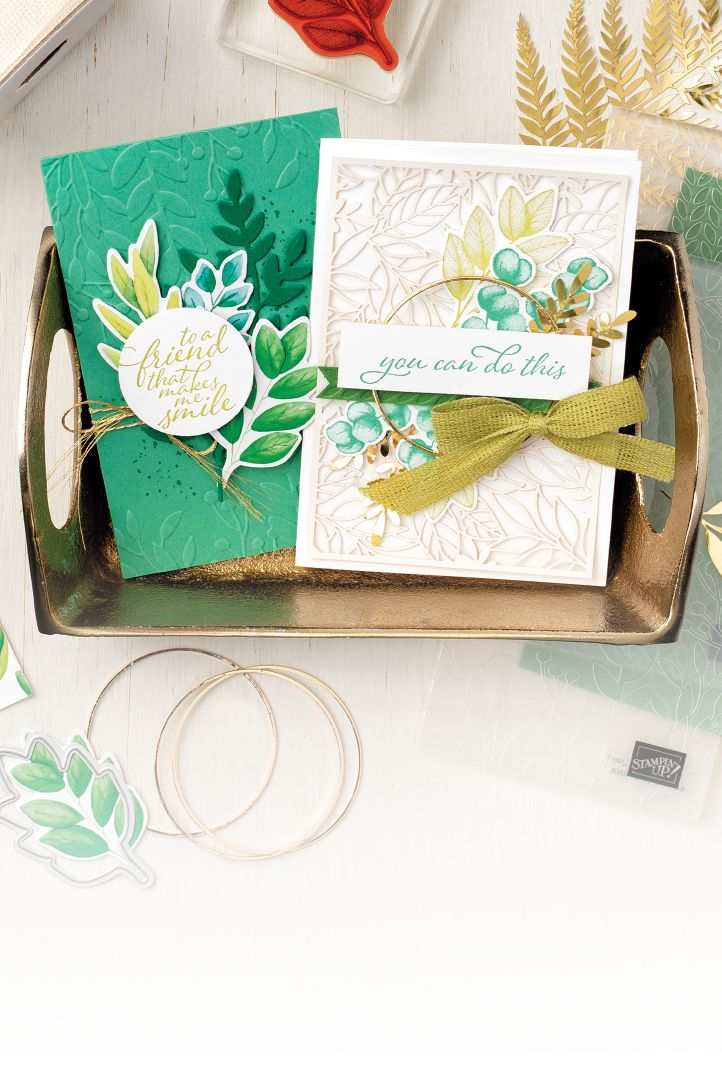 Card samples using the Forever Greenery Suite Collection by Stampin' Up!. This suite features watercolor patterns and images in a glorious array of green hues.