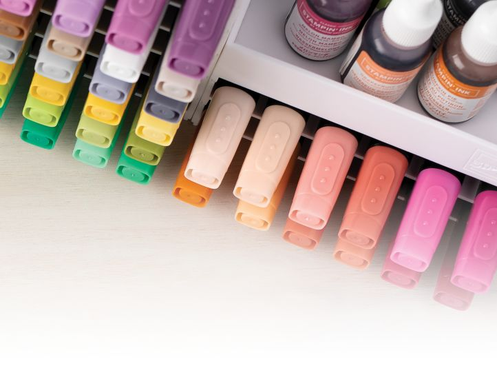 Stampin' Up! markers and ink organized in color storage.
