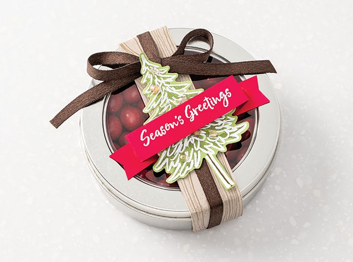 Gift created with the In the Pines Bundle. Small treat container topped with assets created from the In the Pines Bundle.