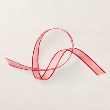 REAL RED 3/8 (1 CM) SHEER RIBBON