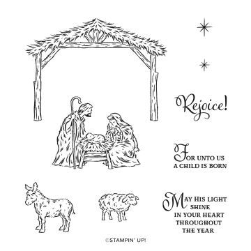 PEACEFUL NATIVITY CLING STAMP SET (ENGLISH)