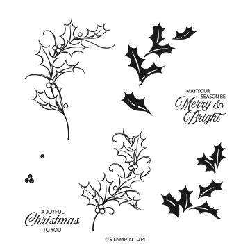 JOYFUL HOLLY PHOTOPOLYMER STAMP SET