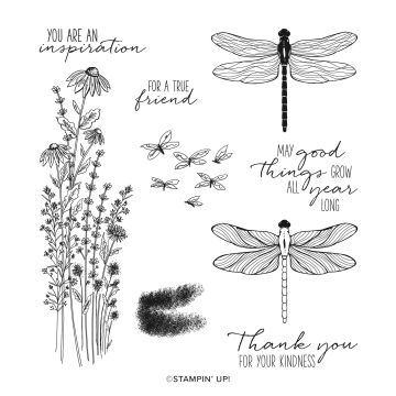 DRAGONFLY GARDEN CLING STAMP SET