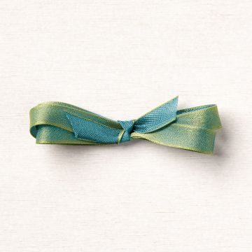 "OLD OLIVE/PRETTY PEACOCK 3/8"" (1 CM) REVERSIBLE RIBBON"