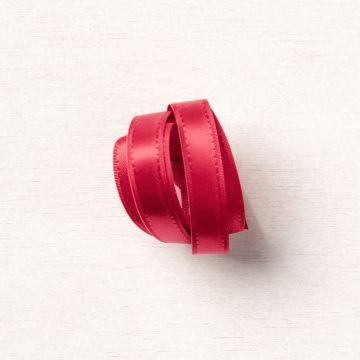 """REAL RED 3/8"""" (1 CM) DOUBLE-STITCHED SATIN RIBBON"""