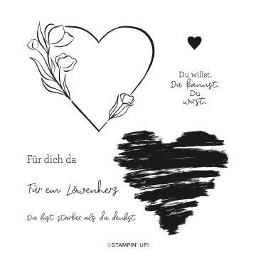 STEMPELSET ABLÖSBAR LÖWENHERZ (DEUTSCH)