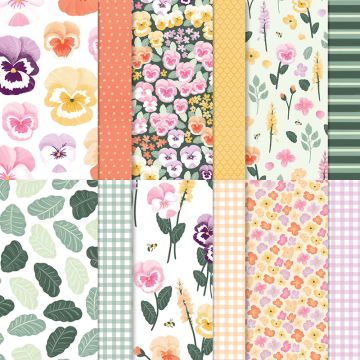 pansy petals patterned papers from Stampin Up with zoe tant uk
