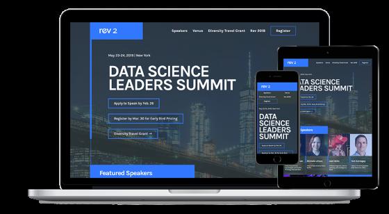Screenshot of Domino Data Lab Rev website.