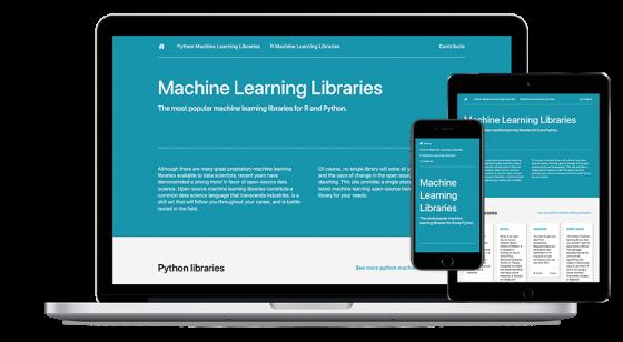 Screenshot of Machine Learning Libraries website.