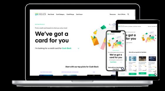 Screenshot of Credit Card Insider website.