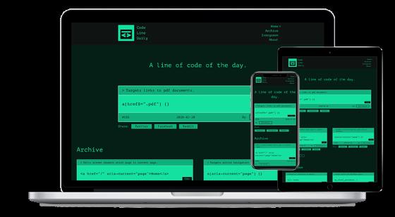 Screenshot of Code Line Daily website.