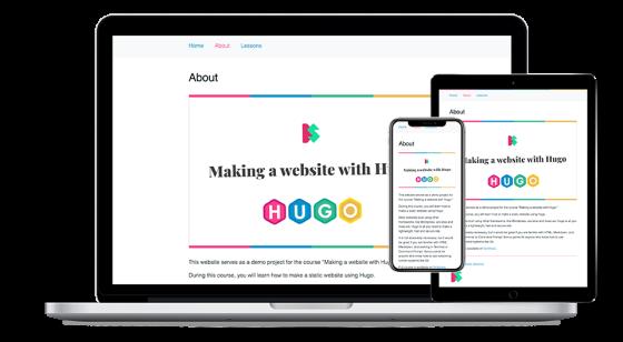 Screenshot of Making a website with Hugo website.