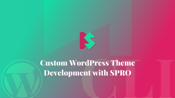 Cover image with custom graphics for article Custom WordPress Theme Development with SPRO.