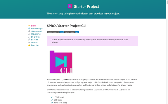 Screenshot of Starter Project website
