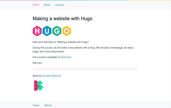 Screenshot of Making a website with Hugo website