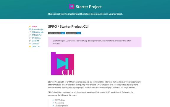 Screenshot of Starter Project website