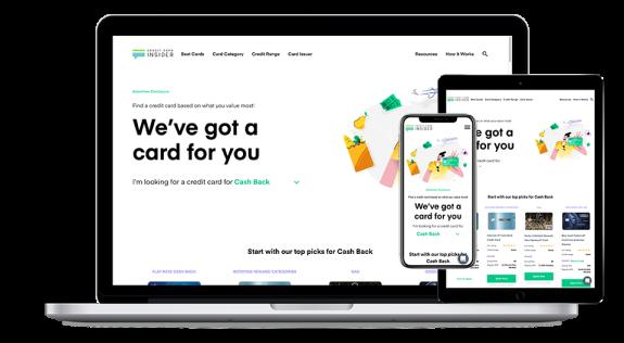 Credit Card Insider website screenshots displayed on laptop, tablet, and mobile device.