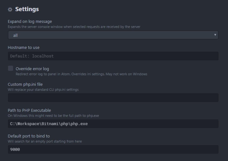 PHP-server settings.