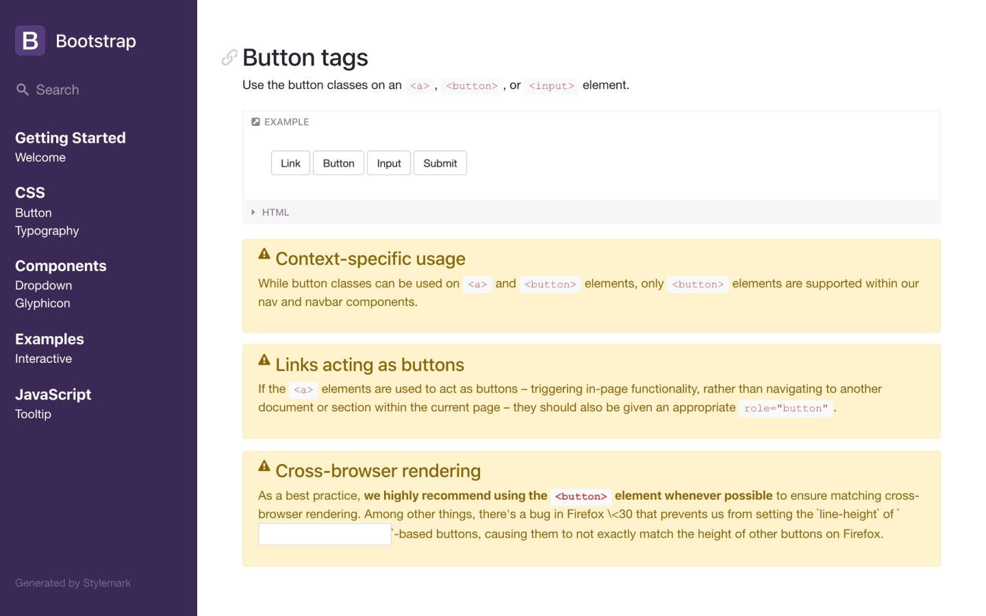 Stylemark Style Guide, Bootstrap example.