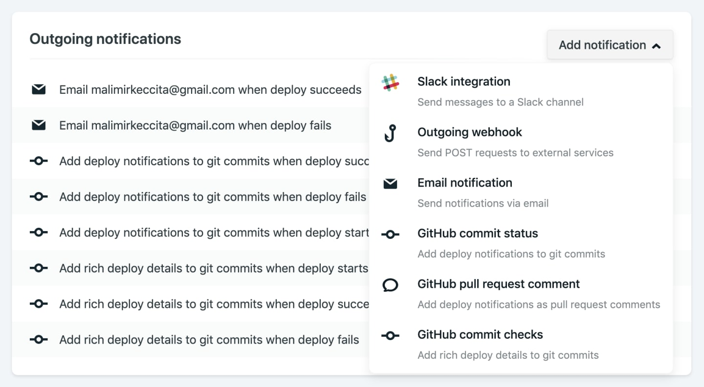 Netlify dashboard for notification section