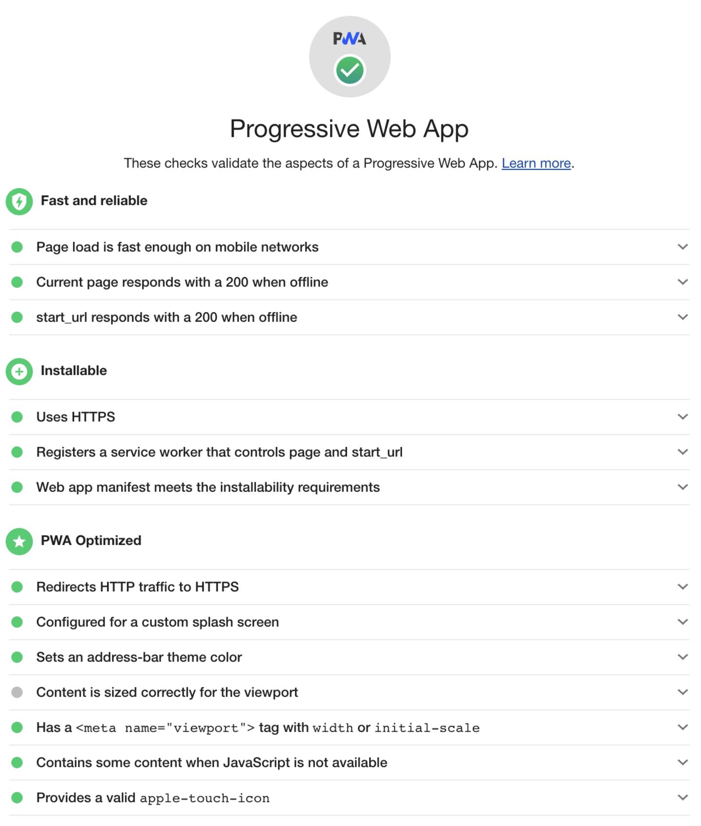 Lighthouse score for Progressive Web App after optimisation.