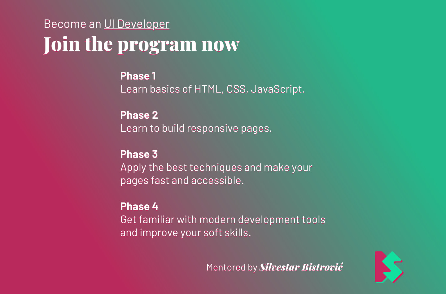 The UI mentoring program by phases.