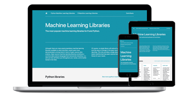 Machine Learning Libraries website screenshots displayed on laptop, tablet, and mobile device.